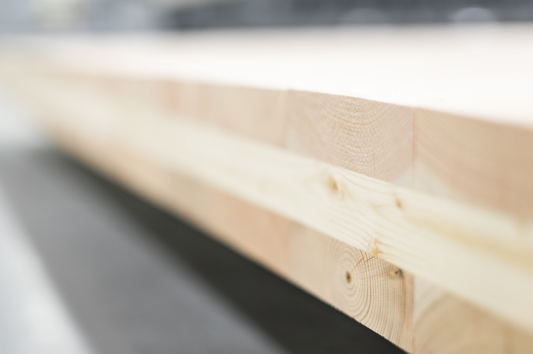 close up of cross laminated timber product