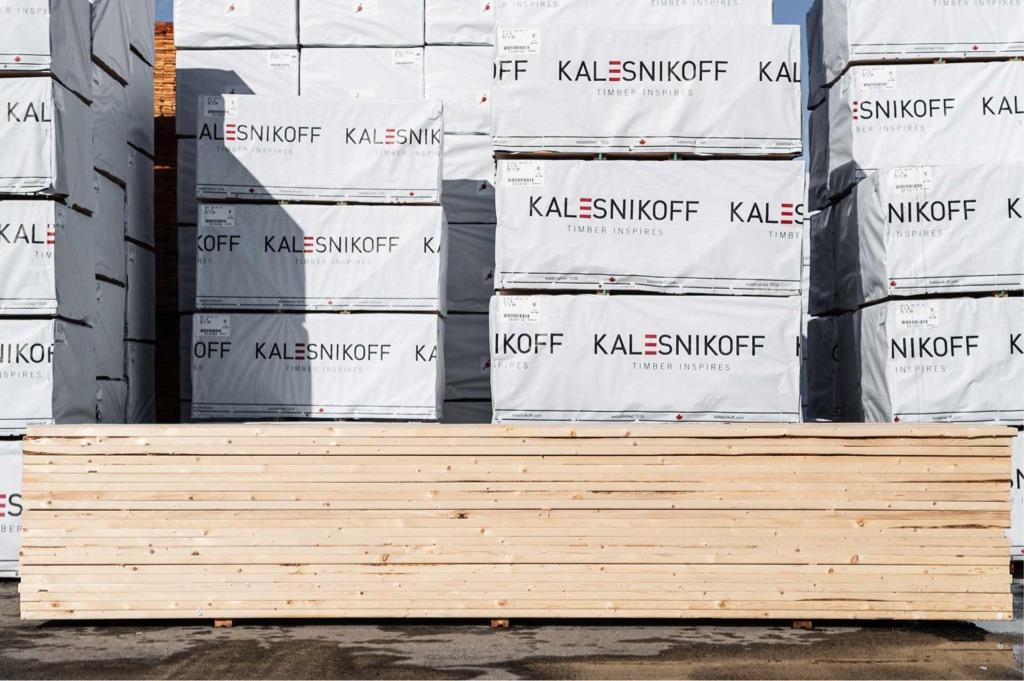 dimensional lumber stacked on pallet in mass timber facility