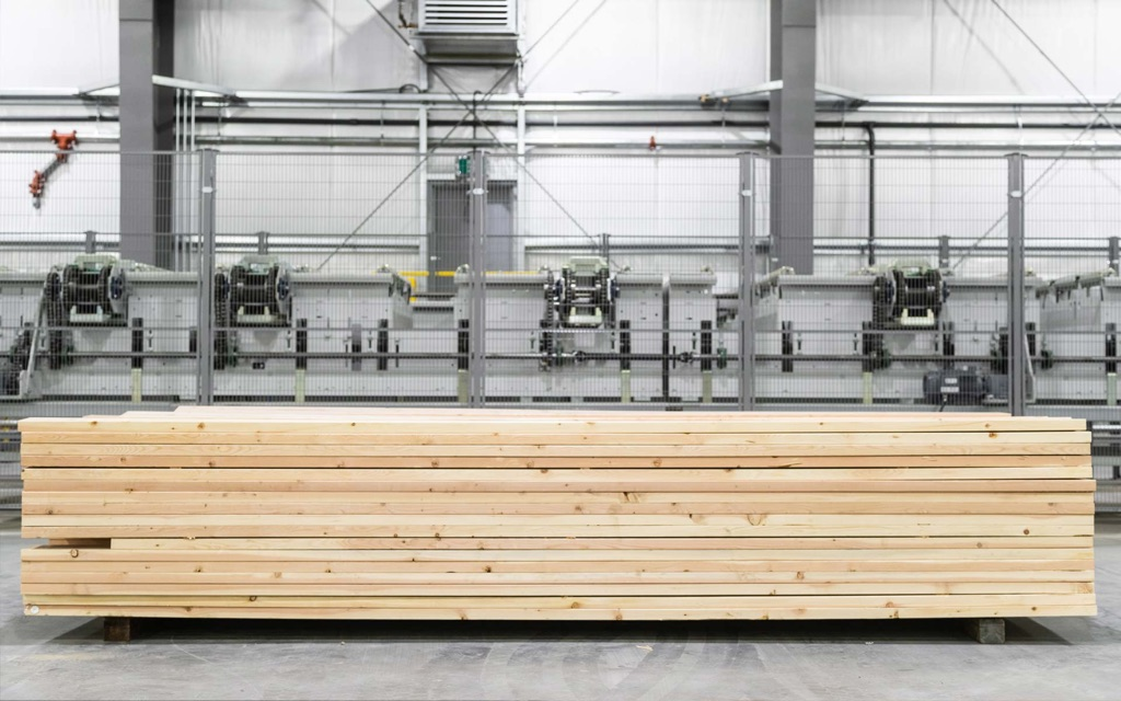 japan zairai lamstock piled on palette in mass timber facility