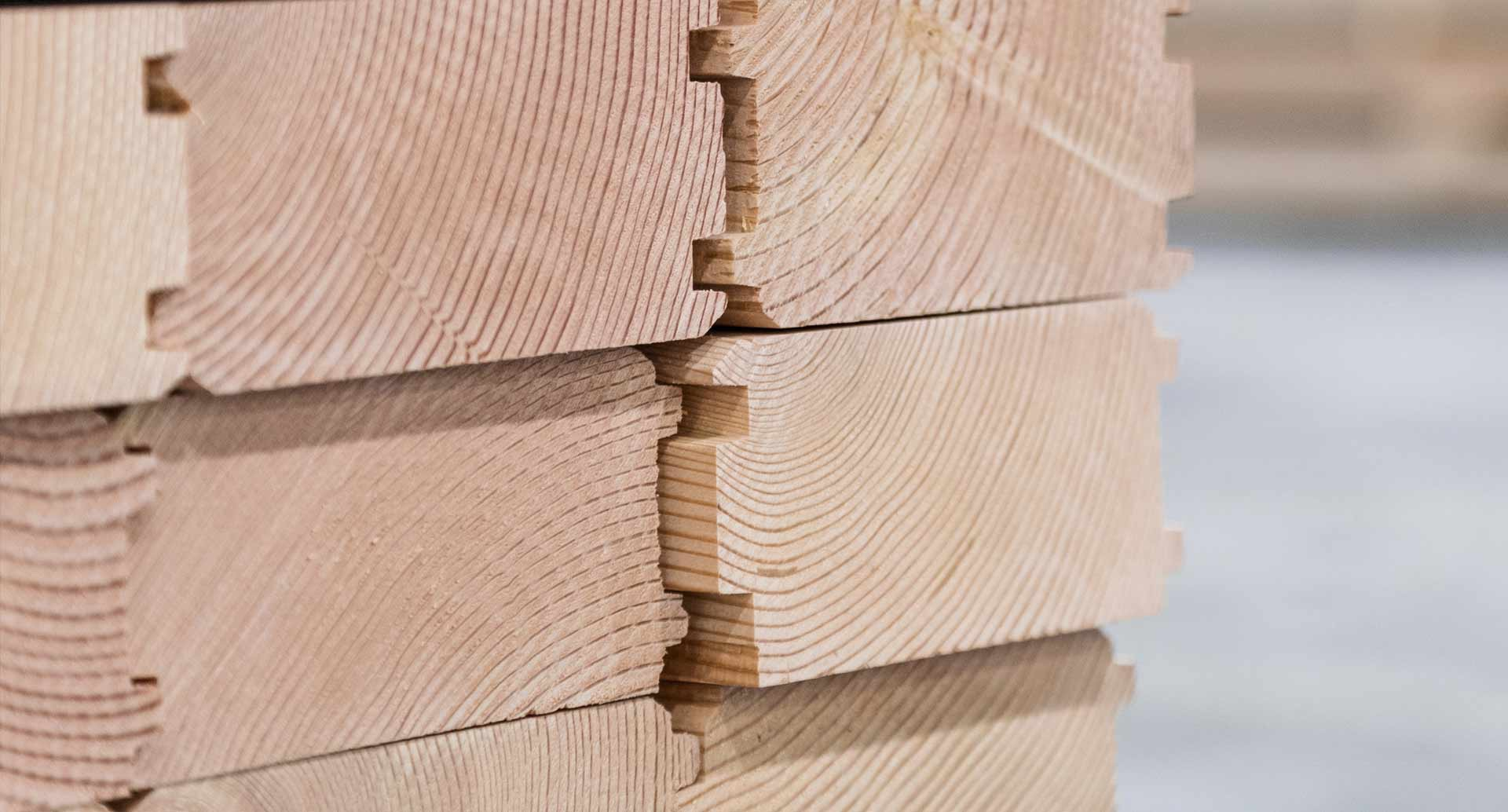 close up of specialty timber product tongue and groove cross section view