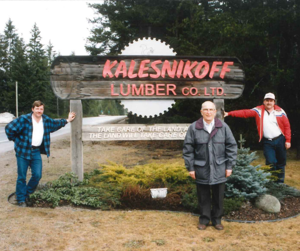 Pete Jr Kalesnikoff and son Ken by the family lumber business