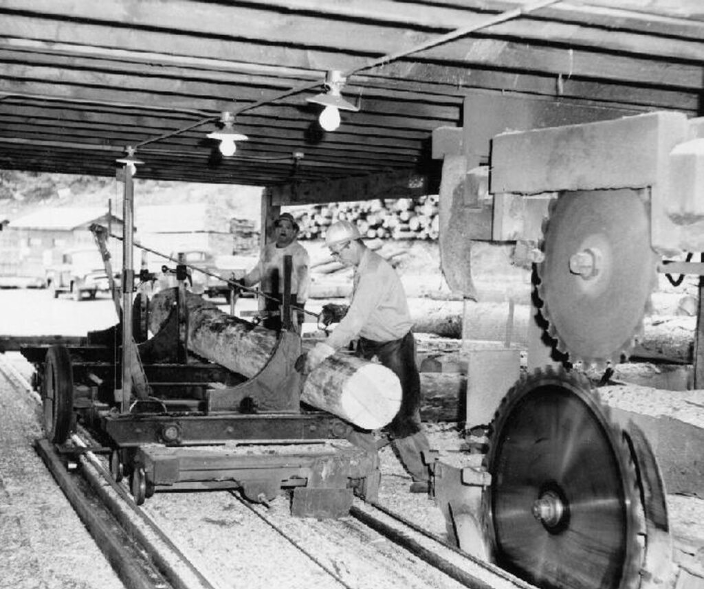 Black and white historical photo of workers in the saw mill cutting large timber