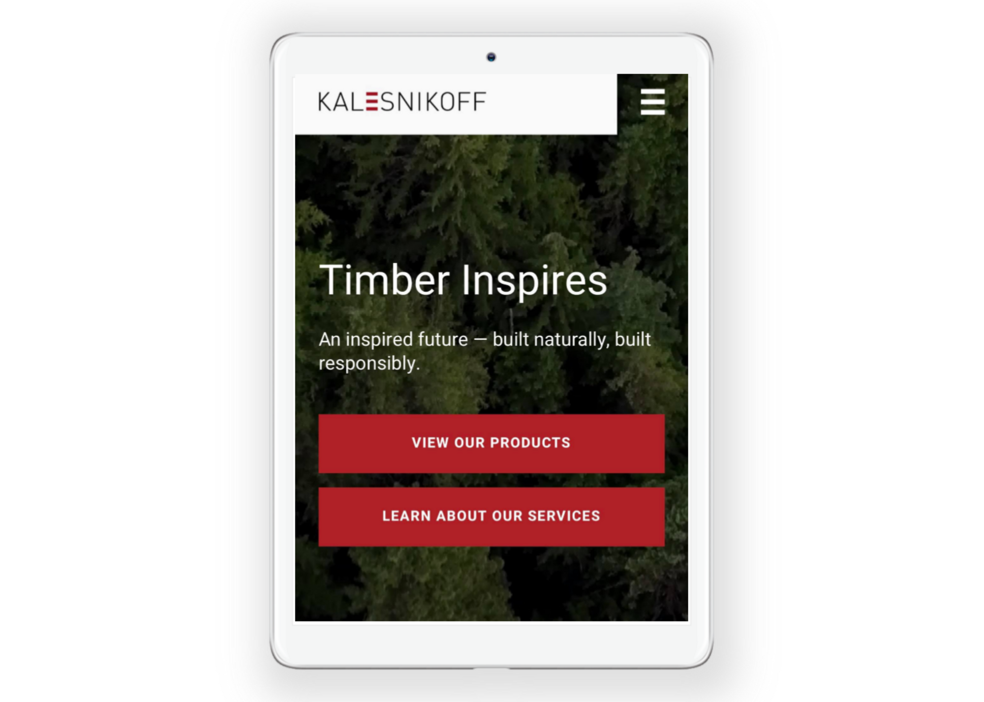 Kalesnikoff new mass timber website in mobile form