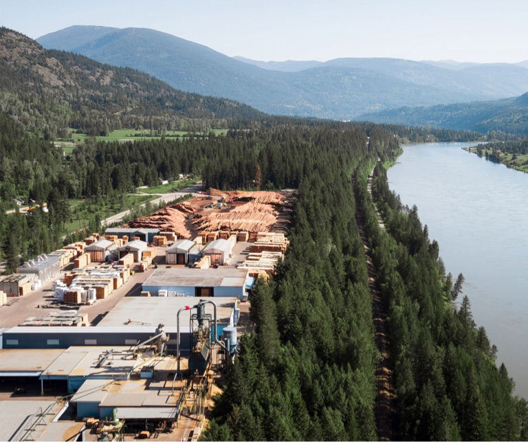 mass timber sawmill at the side of river in British Columbia