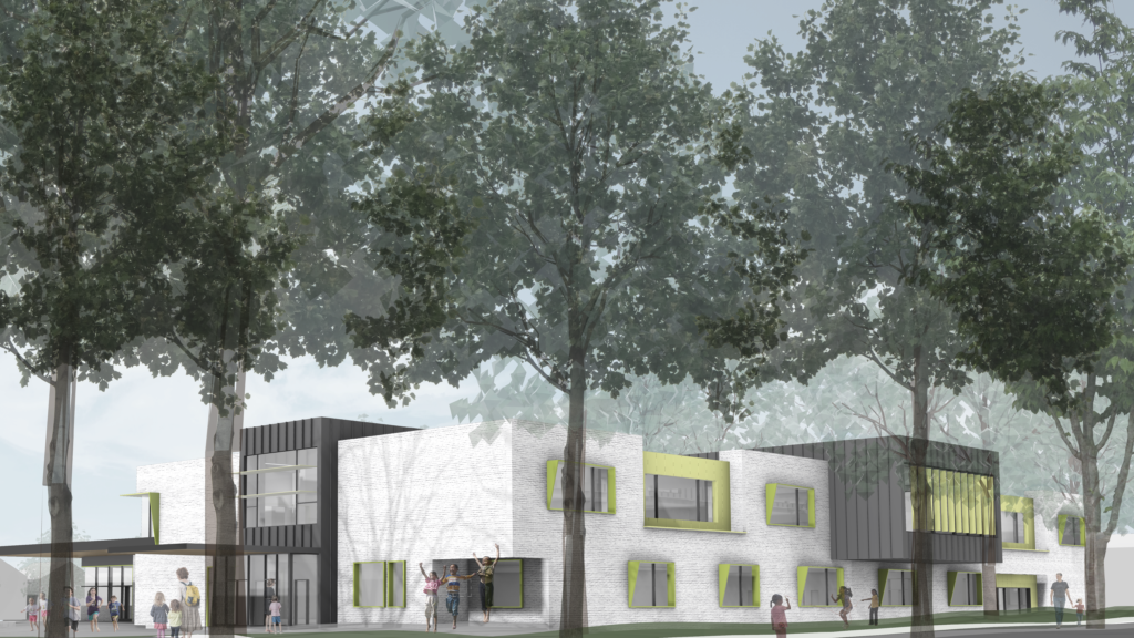 Rendering of Bayview Elementary School made from cross-laminated timber (CLT) panels